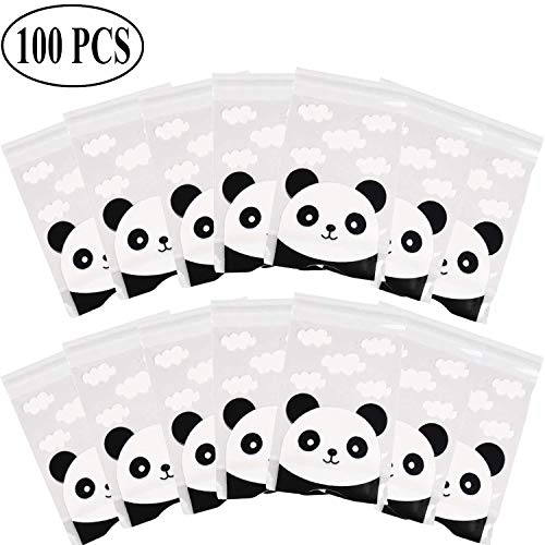 Ouinne 100 Stück Cookies Tasche, Panda Muster Klar Behandeln Kunststoff Cello Taschen für Cookie Bakery Candy Keks Geschenk Verpackung (Halloween-cello Behandeln Taschen)