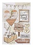 3 D-Sticker Hochzeit Vintage I, Bogen 18,5 x 12,5cm