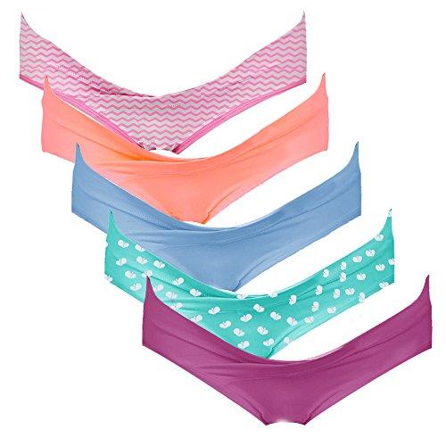 Damen Baumwolle Ziehen (Intimate Portal Damen Schwangerschaftsslip aus Baumwolle für unterhalb des Babybauchs Schwangerschaftsunterhosen 5er-Pack XL Mehrfarbig)