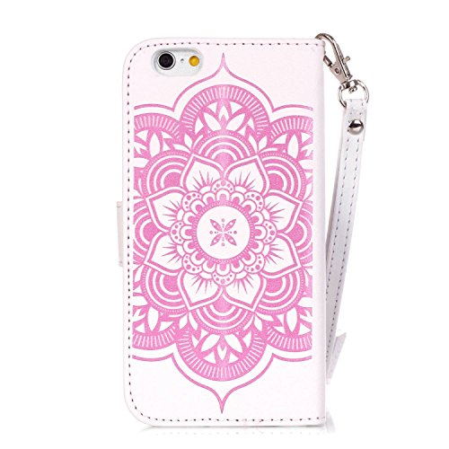 Coque Etui pour Apple iPhone 6 Plus/ 6S Plus, iPhone 6 Plus Coque Papillon Rose gaufré motif en relief Portefeuille Bling Diamant, iPhone 6S Plus Coque en Cuir Folio Etui Housse Leather Bookstyle Case Diamant Campanule-Rose