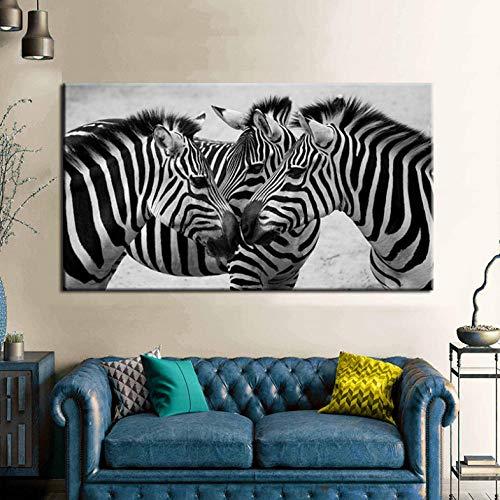 Cyalla Schwarz Weiß Leinwand Kunst DREI Zebras Tier Malerei Wandkunst Drucke Poster Für Wohnzimmer Wohnkultur Modulare Bilder 50X90 cm (Schwarz Weiß Halloween-nagel-kunst Und)