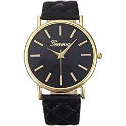 WINWINTOM Women Roman Leather Quartz Wrist Watch Black