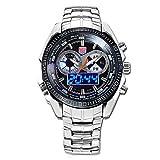 Easy Go Shopping Sehen Sie die Militäruhr der Männer Wasserdichte LED doppelte leuchtende Sportuhr für Mann-Stahlgürtel an (Color : 1)