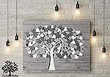 70x50 cm, 3D - Optik Leinwanddruck-Gästebuch, Hochzeitsbaum, Wedding Tree, Rustikales Gästebuch, Leinwanddruck - Baum, Keilrahmen und Holz Motiv