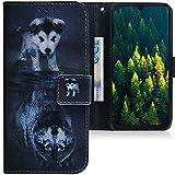 CLM-Tech Hülle kompatibel mit Samsung Galaxy A50 - Tasche aus Kunstleder - Klapphülle mit Stand & Kartenfächern, H& Wolf schwarz weiß
