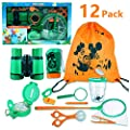 Kit explorateur extérieur FUNCUBE Explorer Kit 12pcs Faire semblant de jouer des jouets pour l'exploration binoculaire de l'aventurier pour garçons et filles Kit de jouets amusants pour le camping et la randonnée