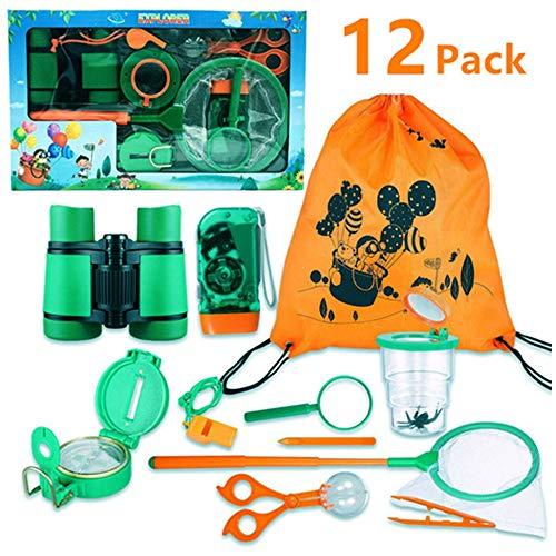 FUNCUBE Kit de Explorador al Aire Libre 12Pcs Juguetes de Juego de imaginación para niños y niñas Aventurero Binocular Exploration Fun Toy Kit para Camping y Senderismo (12pcs)