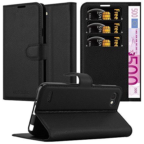 Cadorabo Hülle für LG Q6 - Hülle in Phantom SCHWARZ – Handyhülle mit Kartenfach und Standfunktion - Case Cover Schutzhülle Etui Tasche Book Klapp Style