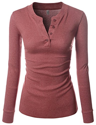 Nearkin Damen T-Shirt, Henley-Neck, Lange Ärmel, Baumwolle, T-Shirts Gr. Medium, NKNKWBT68-WINE -