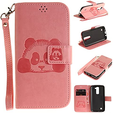 Meet de Red Panda goffratura Per LG K8 PU Pelle Case, LG K8 Custodia / Flip Cover Pelle Stand / Cover Shell / Protettiva Caso / Cover / Protezione / Copertura / Flip Cover Pelle Stand Custodia in pelle con supporto Per LG K8 - rosa
