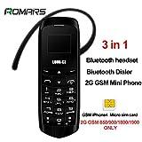 LONG CZ VOICE CHANGER 3in1 Les plus petits du monde plus minces téléphone mobile Bluetooth Dialer Casque Bluetooth Micro Carte SIM J8 18 Gram (Noir)