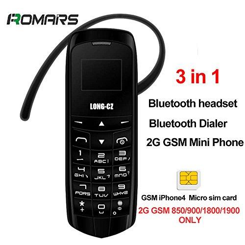 MÍNIMO MÁS PEQUEÑO DEL MÍNIMO 3 EN 1 LONG-CZ J8 Negro, mini teléfono DESBLOQUEADO con la función libre del auricular de las manos Bluetooth Dialer + Bluetooth+Earphone radio de FM, tarjeta micro de SIM, 2G G / M Only (negro) 18 GRAMS PLÁSTICO