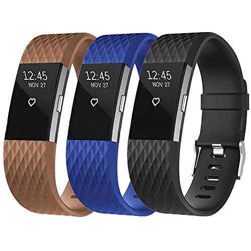 Cyeeson 3PC Fitbit Charge 2 Uhr Replacement Armband Weiche Silikon Farbe Adustable Band Gel Wristband Strap Watch Band für Fitbit Charge 2 Watch