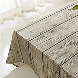 Vintage Rectangle Mantel de lino de algodón, Yanyi Brand Wood Stripe Mantel de mesa para el restaurante del hotel de casa Restaurante, calor y humedad Resistencia90*90cm(35*35inch)
