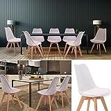 IDMarket - Chaises X4 SARA blanches pour salle à manger design scandinave
