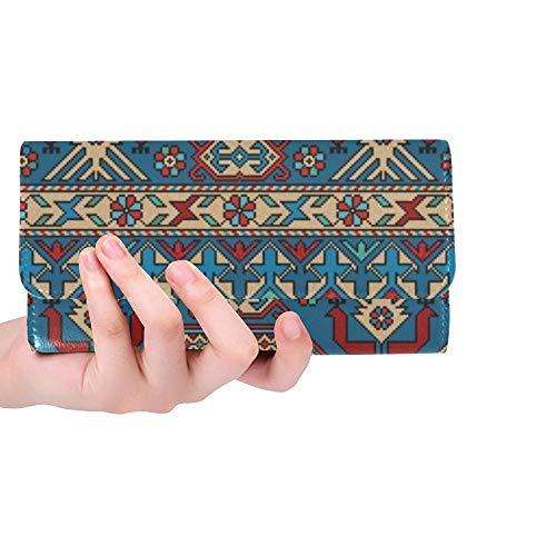 Traditionelle Orientalische Teppich (Einzigartige benutzerdefinierte Bunte orientalische Mosaik Kazak Teppich traditionelle Frauen Trifold Wallet Lange Geldbörse Kreditkarteninhaber Fall Handtasche)