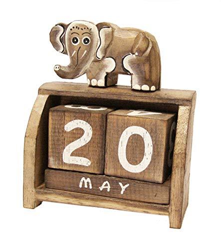 Cornwall Art Prints Pequeño Elefante Calendario perpetuo, Escritorio de Madera Adorno Shabby Chic Gris