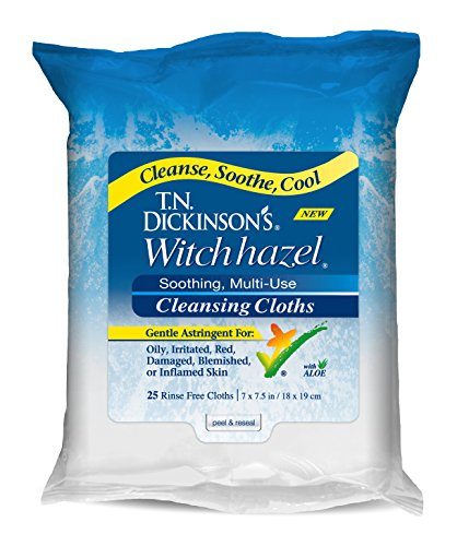 T.N. Dickinson's Witch Hazel Cleansing Cloths with Aloe, 25 Cloths by T.N. Dickinson's
