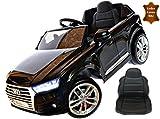 ToyZone Kinderfahrzeug 12V Kinder Elektro Auto Audi Q7 Eva Gummiräder Ledersitz Kinderauto Elektrofahrzeug 2,4 GHZ Schwarz Steuerung