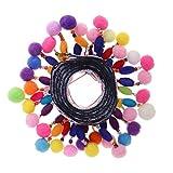 Baoblaze 1 Yard Pomponborte Bommelborte Bommelband Quaste Borte Bordüre Band Besatz Nähzubehör - Farbe 6, 45mm