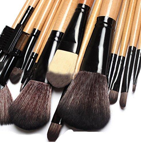 Cexin couleur de bois professionel 15 pinceaux de maquillage équis avec trousse en cuir