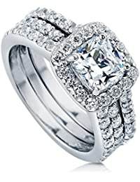 BERRICLE Rhodium Plated Sterling Silver Cubic Zirconia CZ Halo Engagement Insert Ring Set