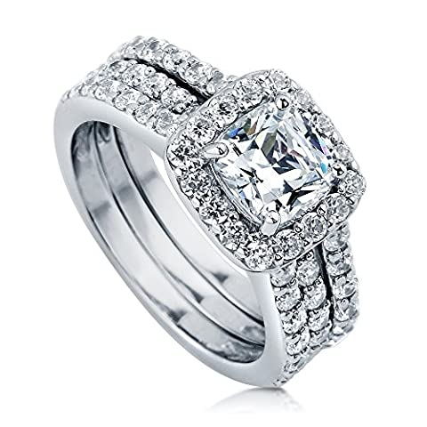 BERRICLE Rhodium Plated Sterling Silver Cubic Zirconia CZ Halo Engagement Insert Ring Set Size O