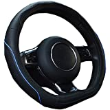 Ledaut D Style Genuine Black Leather Handle Grip Steering Wheel Cover Wraps For Golf GTI VW Buick Audi Benz