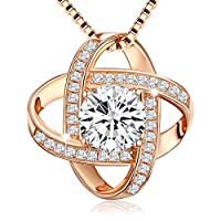 Swarovski Elements 18K Rose Gold Plated 925 Sterling Silver Pendant Necklace JRosee Jewelry JR618