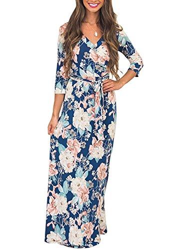 Landove vestito lungo elegante donna cerimonia abito maniche 3/4 vestiti stampa floreale scollo a v casual mode bohemian abiti da spiaggia sera cocktail maxi dress