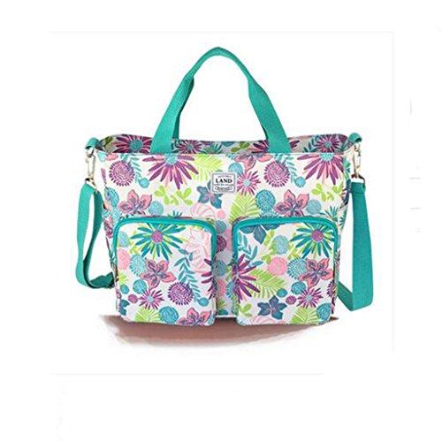 Wickeln Tasche mit verstellbarer und abnehmbarer langer Riemen Style40 Flowers Green