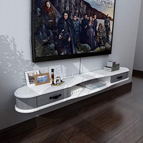 JDH Wandregal Schwimmregal Wandmontiertes Tv-Schrank-Regal mit Schublade Tv-Konsole DVD-WLAN-Router Weiß Holz (Farbe: B, Größe: 1.3M), b, 1,2 m -