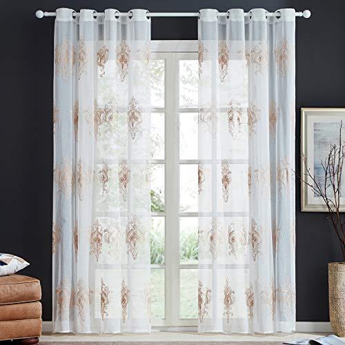 Top finel ricamate moderne tende per case camera da letto cameretta occhielli,140x215 cm,2 pezzi,giallo