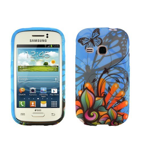 Image of zkiosk set of 4 Silicone Gel Protective Case Samsung Galaxy Young S6310N design selection 5 Butterfly flower star tortoise (blue/white/black/yellow/pink)