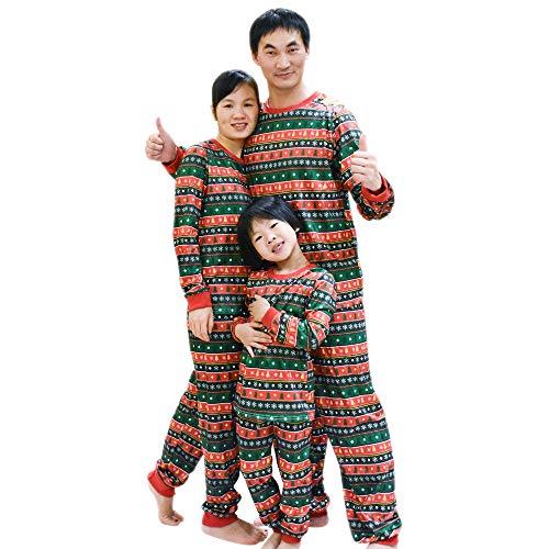 BOZEVON Weihnachten Pyjama Set - Schlafanzug Familie Xmas Nachtwäsche Hausanzug Sleepwear Damen Herren Kinder Mädchen Jungen, Grün-Zum Papa, Tag XL