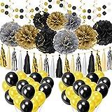Artoper 62 Stück Party Deko Set, Pompoms Blumen, Spiral Girlanden, Quasten Girlande, Punkte-Girlande und Luftballon für Geburtstag Hochzeit Baby Dusche (Schwarz)
