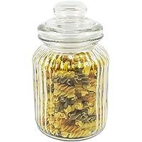 Get Goods 990ml Barattolo in vetro a coste–Coperchio a pressione/a coste/ermetico/spessore vetro, lavare a mano solo, Vetro, transparent, 4 Jars
