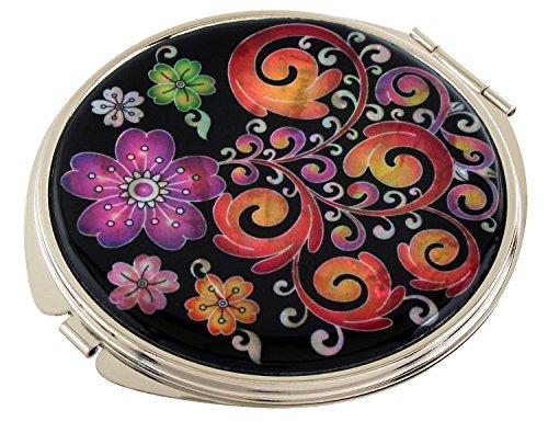 Madreperla, motivo: arabesco, Design compatto, doppia lente d'ingrandimento tascabile trucco Bellezza-Specchio da borsetta