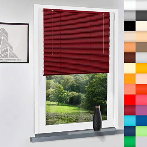 Aluminium Jalousie nach Maß, hochqualitative Wertarbeit , alle Größen verfügbar, Maßanfertigung, für Fenster und Türen, Fenster, Klemmfix ohne Bohren (Bordeaux Rot, Höhe: 130cm x Breite: 70cm)