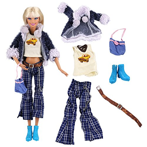 VILLAVIVI Fashioniastas Kleid Kleidung Set Hemd Jacke Hose Gürtel Schuhe T-Schirt für Barbie Puppen Doll (Barbie Fashionistas Doll Set)