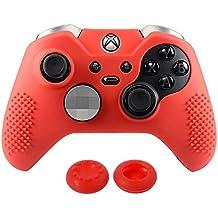 eXtremeRate Funda Carcasa Antideslizantes de Silicona con 2 Grips Pulgares para Mando Microsoft Xbox One Elite Negro