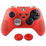 eXtremeRate Schutzhülle Weiche Silikon Hülle Case, 2 Analog Sticks Thumbstick Kappen für Xbox One Elite Controller(Rot)