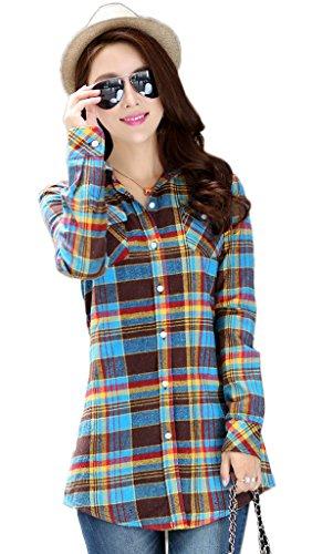 Smile YKK Chemisier Manches Longues Blouse Coton Col Chemise T-shirt Mi-long Casual Carreaux Chic Brun Buste 88cm
