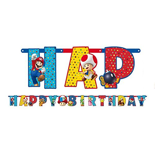 Amscan-121554-1-m-x-11-cm-super-mario-Happy-Birthday-Carta-Banner