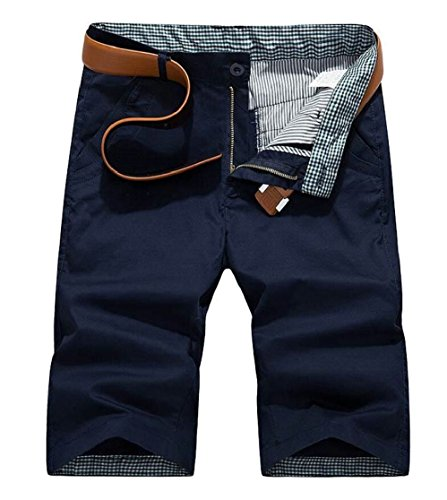 Gocgt Men Cotton Solid Color Multiple Pockets Army High Waist Cargo Short