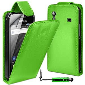 MobileAccessories4U Leather Flip Skin Case Cover, Film & Mini Stylus For Samsung Galaxy Ace S5830 - Green