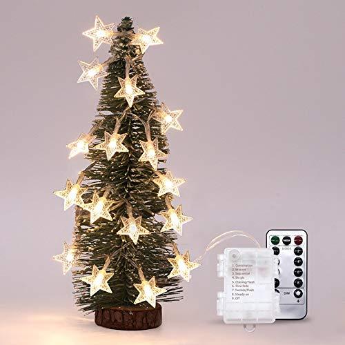 ODJOY-FAN Draussen Wasserdicht Sternenlicht Fernbedienung LED Laternenpfahl Zeichenfolge Licht Dimmbar Mit Fernbedienung Steuerung 5M 40led Beleuchtung Weihnachten Licht (Gelb,1 PC)