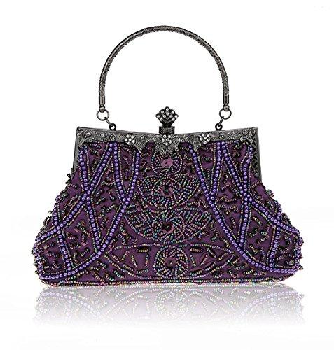 Aronvivi, Poschette giorno donna Argento Silvery taglia unica Purple