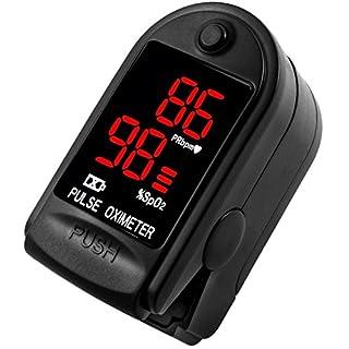 AVAX AV-50DL - Fingerpulsoximeter (Finger Pulse Oximeter) -%SpO2 (Sauerstoffsättigung des Blutes) & Herzfrequenzmesser mit LED-Anzeige und Zubehör - SCHWARZ