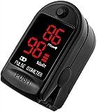 AVAX 50DL - Oxímetro de pulso de dedo - %SpO2 (saturación de oxígeno en sangre) & Monitor de ritmo cardíaco - COPD - con instrucciones, cordón y funda de transporte (en paquete de regalo) -